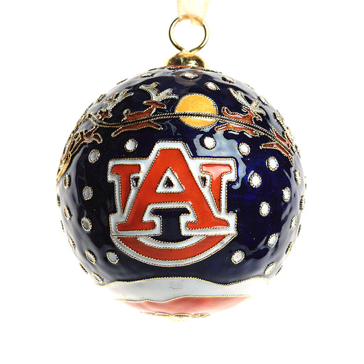Auburn Santa Fly Over Night Blue Cloisonne Ornament