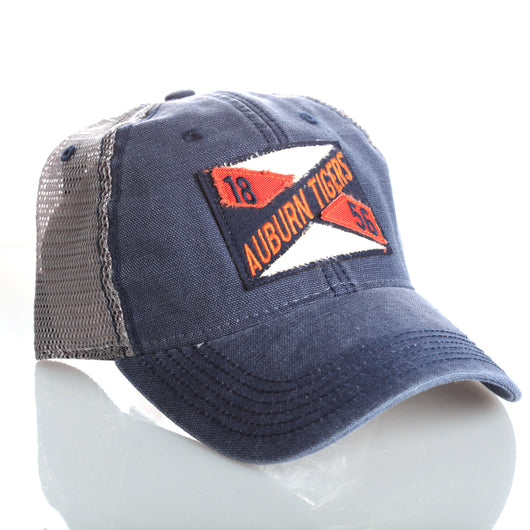 Grey Trucker Hat with Auburn Tigers Patch