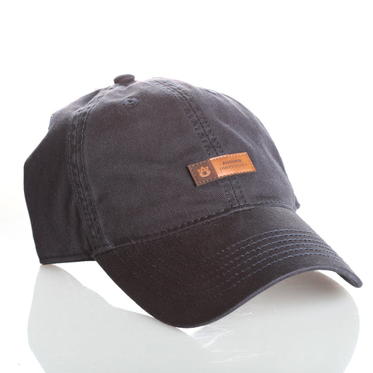 Navy Hat w/Tiny Leather Patch