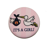 It's a Girl Auburn Logo Fabric Button or Pin.