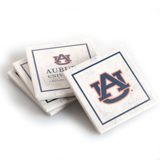 Auburn White Square 4 Pack Coaster Set