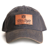 Distressed Navy Auburn Hat with Leather Patch Front
