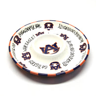 Auburn University Logo Hand-Painted Circle Chip & Dip Tray