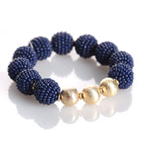 Navy Seed Bead Stretch Bracelet