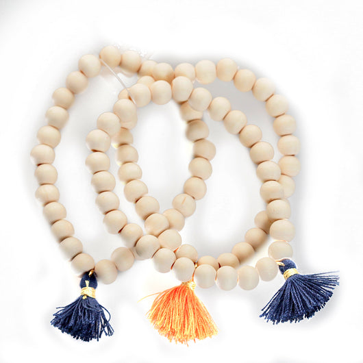 Orange/Navy Triple Cotton Tassel Bracelet