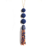 Navy/Orange Bead Ball Drop Necklace