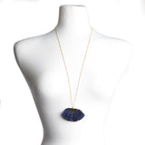 Navy Fan Tassel Necklace