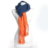 Navy/Orange Knitted Scarf