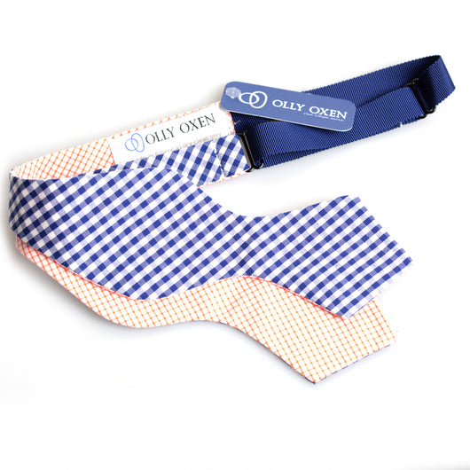 Navy & Orange Windowpane Traditional Bowtie