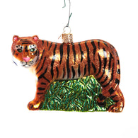 Tiger Prowl Blown Glass Christmas Ornament