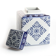 Blue & White Ceramic Shangdong Square Ginger Jar
