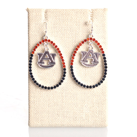 Auburn Crystal Logo Loop Earrings