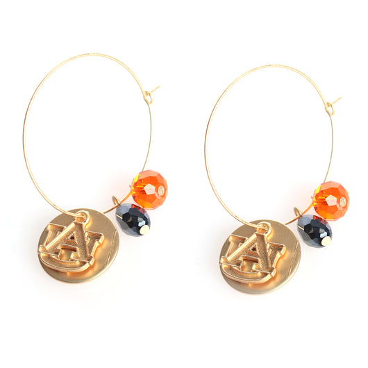 Auburn Matte Gold Logo Hoop Earrings