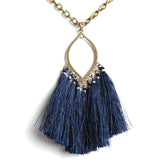 Navy Gameday Fringe Necklace