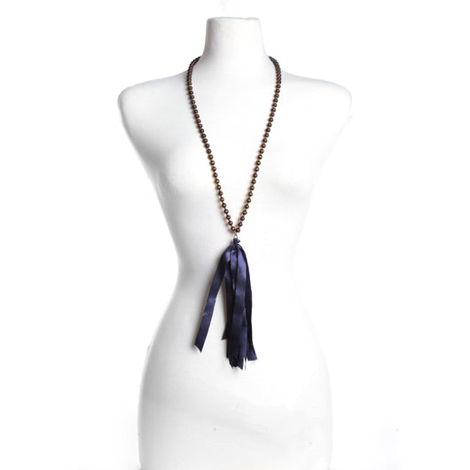 Wood Bead Necklace w/Navy Silk Tassel