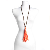 Wood Bead Necklace w/Orange Silk Tassel