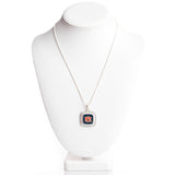 Square AU Logo Crystal Boarder Necklace