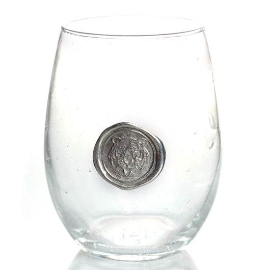 Tiger Stamp Stemless Wine Glass