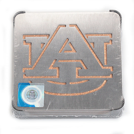 Auburn Metal/Cork Boaster Coaster Set (of 4)