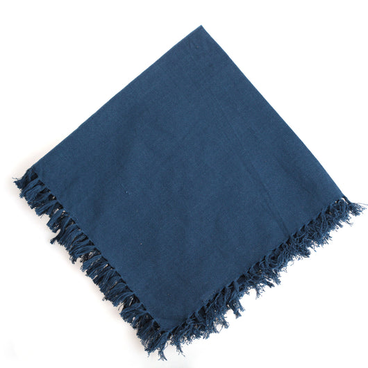 Fringed Napkin in Navy Blue