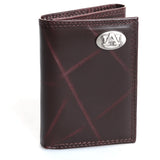 Auburn Pebble Grain Brown Trifold Wallet