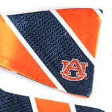 Auburn Silk Orange & Navy Stripe Silk Traditional Bowtie w/ AU Logo
