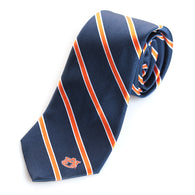 AU Silk Orange and Navy Stripe Woven Tie