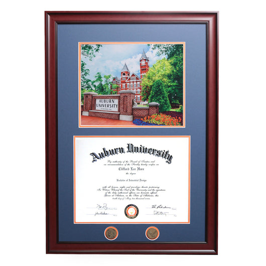 Samford Hall Colorful Sketch Auburn Diploma Frame