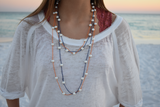 60 inch Navy and Pearl Necklace