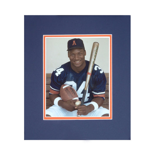 Auburn Tigers Two Sport Legend Bo Jackson (34) - Framed Football and Baseball Photo - Rare