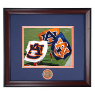 Auburn Tigers Pre-Game Celebration Flags on Field Framed Football Photo
