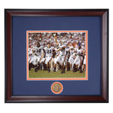 Auburn Tigers 2007 Victory over Florida, Wes Byrum Celebrating The Kick with a Gator Chomp Framed Photo