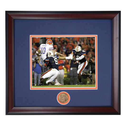 Auburn Tigers Block Punt by Jerraud Powers and Tristan Davis results in Tre Smith Touchdown vs Florida 2006 Framed Photo