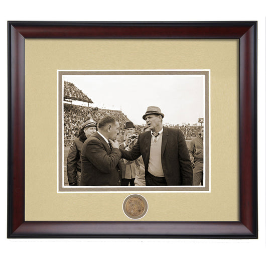 Coaching Legends Shug Jordan and Bear Bryant Framed Sepia Photo - Conversation before the Iron Bowl