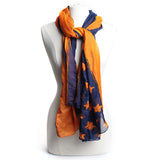 American Traditions Scarf in Navy & Orange