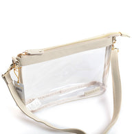 Clear Large Crossbody Purse in Tan/Gold