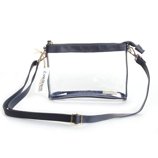 Clear Large Crossbody Purse in Navy/Gold