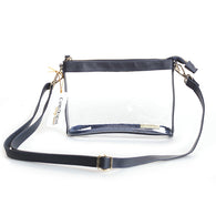 Clear Small Crossbody Purse in Navy/Gold