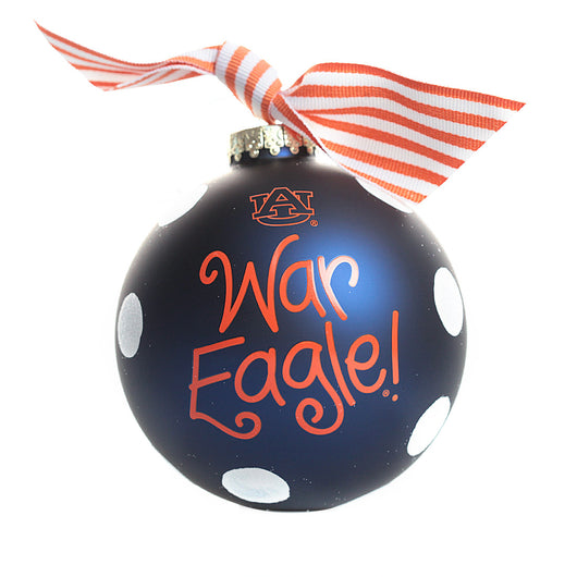 Auburn White Glitter Dot Glass Ornament