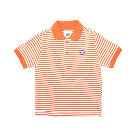 Orange AU Striped Polo