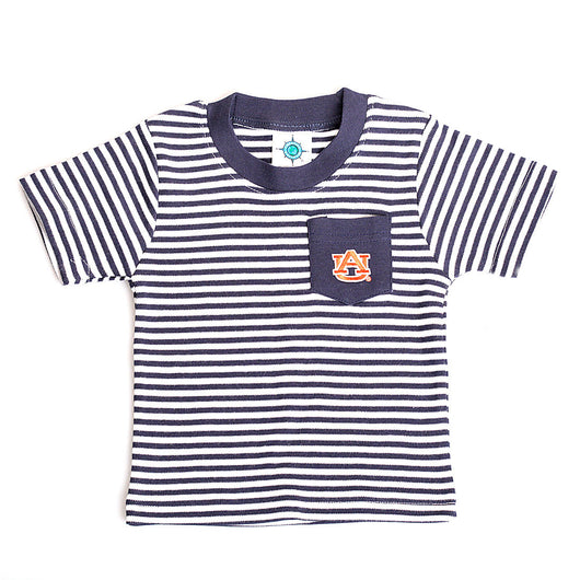 Striped Auburn Pocket Tee in Navy