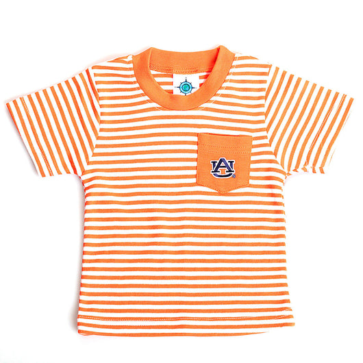 Striped Auburn Pocket Tee in Orange