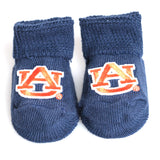 Navy Auburn Baby Booties in Gift Box