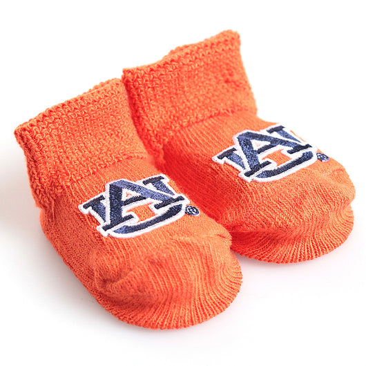 Orange Auburn Baby Booties in Gift Box