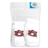 White Auburn Baby Booties in Gift Box