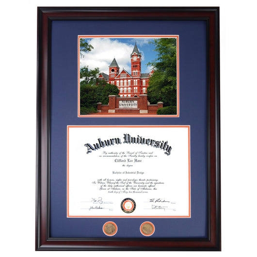 Auburn Diploma Frame with Samford Hall & Sign Photo- Quick & Easy Installation!