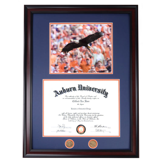 Auburn Diploma Frame with War Eagle Flight IV Photo in Walnut or Mahogany - Quick and Easy Installation!