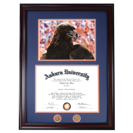 Auburn Diploma Frame with War Damn Eagle III Photo in Walnut or Mahogany - Quick and Easy Installation!