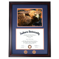 Auburn Diploma Frame with War Damn Eagle I Photo in Walnut or Mahogany - Quick and Easy Installation!