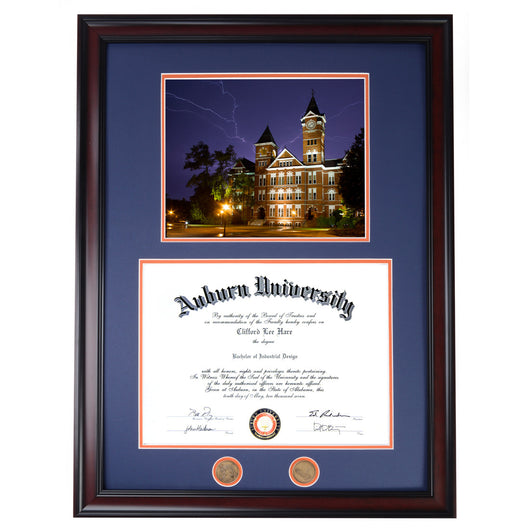 Auburn Diploma Frame with Lightning Over Samford Photo in Walnut or Mahogany - Quick and Easy Installation!